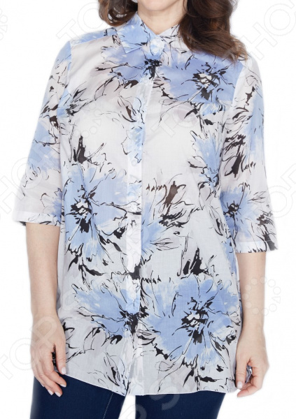 Блуза Prima Linea «Голубые Гаваи». Цвет: белый, голубой