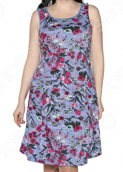 Платье Алтекс «Изобилие цветов». Цвет: светло-джинсовый, алый