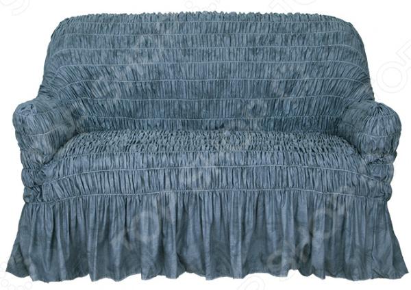 Натяжной чехол на двухместный диван Еврочехол «Фантазия. Синий»