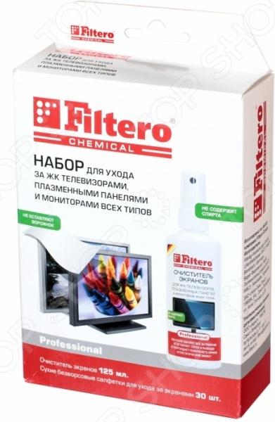 Набор для очистки экранов Filtero 102 комплект, который поможет держать в чистоте всю персональную технику и электронику. Зачастую, пользователи, применяя обычные влажные салфетки и прочие составы, сталкиваются с негативной реакцией устройств пятнами, разводами, ухудшением качества изображения и остаточным навязчивым запахом. Очищающий набор поможет справиться с проблемой загрязнения без каких-либо побочных эффектов. Для этого необходимо предварительно отключить устройство, давая ему остыть. Затем следует аккуратно распределить средство спрей на салфетку и очистить дисплей. После этого остается лишь завершить очищение при помощи сухой салфетки. Комплект для очищения идеально подойдет для очистки экранов TFT LCD, плазменных панелей, экранов ноутбуков и КПК, смартфонов с без защитных пленок , плоских экранов и любых стеклянных поверхностей. Спрей не содержит спирта. В комплекте:  спрей 125 мл;  сухие салфетки без ворса 30 шт.