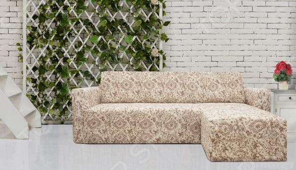 Натяжной чехол на угловой диван с выступом справа Еврочехол «Виста. Флоренция» 1
