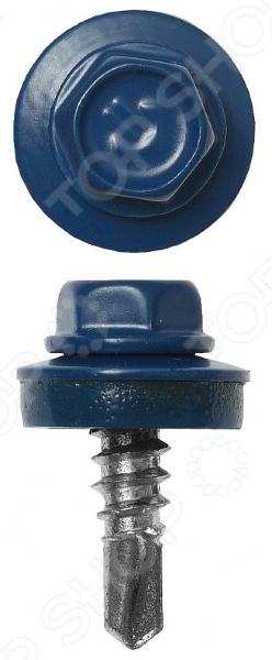 Набор саморезов кровельных Зубр СКМ для металлических конструкций. Цвет: синий