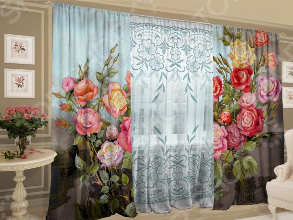 Комплект фотоштор с тюлем ТамиТекс «Сорт: Кустовые розы»
