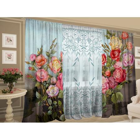 Купить Комплект фотоштор с тюлем ТамиТекс «Сорт: Кустовые розы»