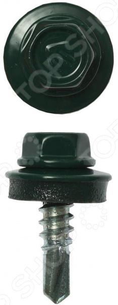 Набор саморезов кровельных Зубр СКМ для металлических конструкций. Цвет: темно-зеленый