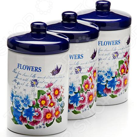 Набор банок для сыпучих продуктов Loraine 26157 набор банок для сыпучих продуктов loraine бабочки 6 предметов 25633