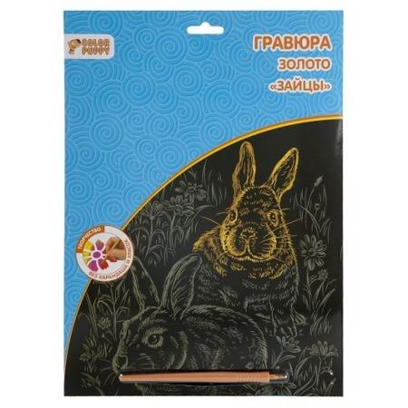 Купить Гравюра маленькая с пластиковым штихелем Color Puppy «Зайцы» 95259