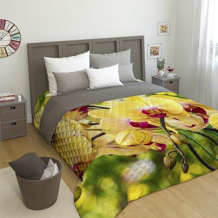 Купить Фотопокрывало стеганое Сирень «Желтая орхидея»