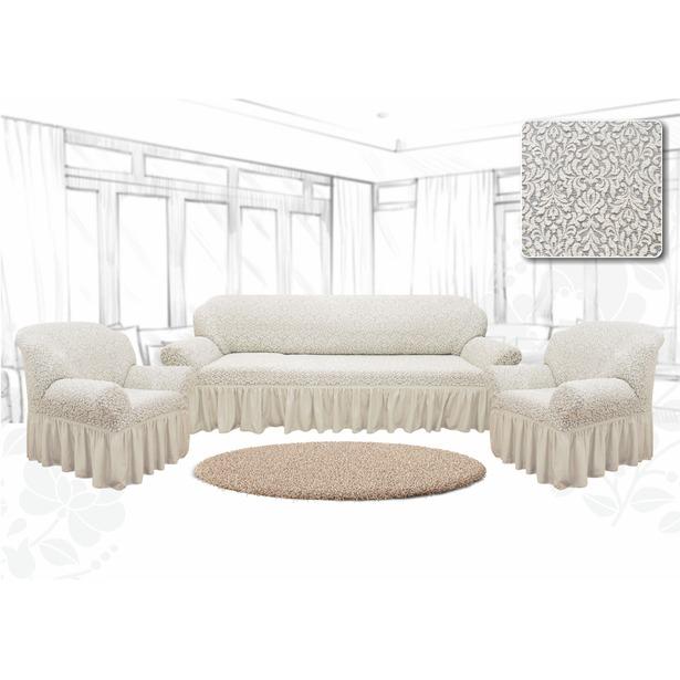 фото Натяжной чехол на трехместный диван и чехлы на 2 кресла Karbeltex «Престиж. Цветы». Цвет: ванильный