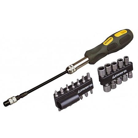 Купить Отвертка с набором бит Stayer Max-Grip 2590-H25 G