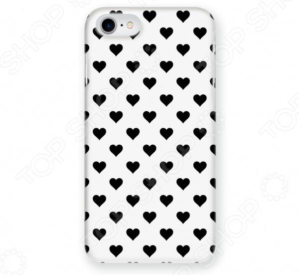 Чехол для iPhone 6 Mitya Veselkov «Черные сердечки на белом»