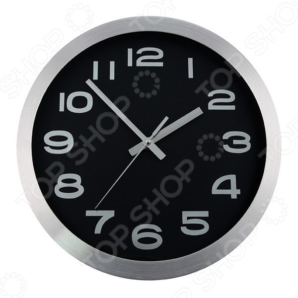Часы настенные Mitya Veselkov «Серебристые цифры на черном»
