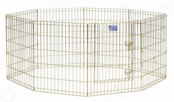 Вольер для животных MidWest с дверью небольшой панельный вольер, который идеально подойдет для тех, кто ценит практичность и заботится о своем питомце. Предназначен для хорьков, кроликов, крыс, морских свинок и других мелких животных. Такой вольер сможет обеспечить более 12 кв.м. игровой зоны, поэтому туда поместится несколько животных.  Безопасная дверца с двойным замком.  Акриловое покрытие Acri-Lock обеспечивает долговечную защиту.  Вольер может быть использован для разных животных.  Легко переносится, просто складывается для удобного хранения.  Легко собирается, не требуется никаких инструментов или дополнительных деталей. В комплект включены угловые усилители, которые добавляют вес и поддерживают конфигурацию ограждения, могут быть использованы для защиты полового покрытия, и крепежи, которыми оснащена функциональная безопасная каркасная дверца.