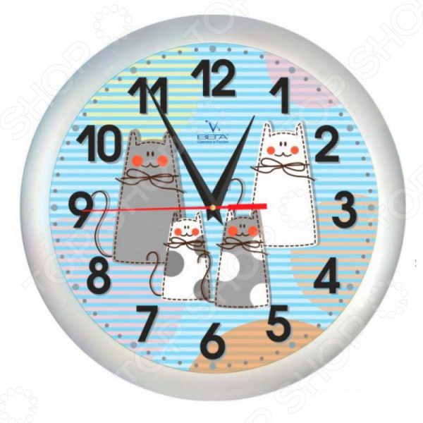 Часы настенные Вега П 1-5/7-206 «Кошки» любовные кошки 3d виниловые настенные часы black record home bedroom wall art decoration