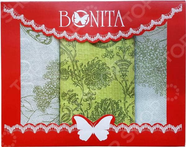 Комплект из 3-х кухонных полотенец BONITA «Лепесток» ткань для полотенец оптом в москве
