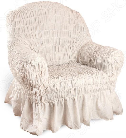 Zakazat.ru: Натяжной чехол на кресло Еврочехол «Фантазия. Белый мрамор»