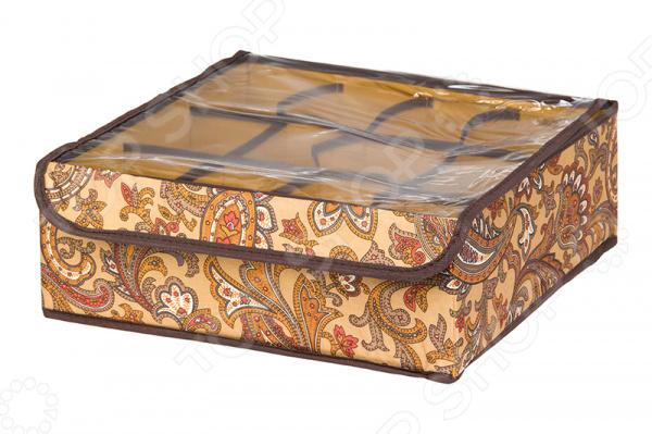Кофр для хранения вещей EL Casa «Перо павлина». Цвет: коричневый