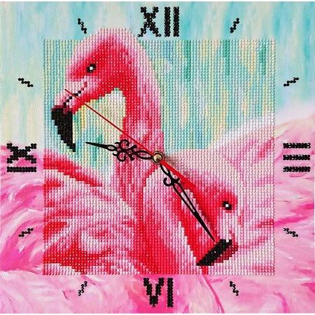 Купить Часы из алмазной мозаики Color Kit «Грациозные фламинго»