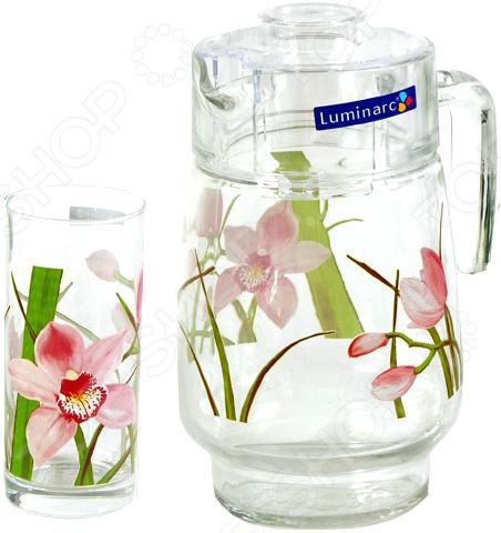 Набор стаканов и графин Luminarc Red Orchis