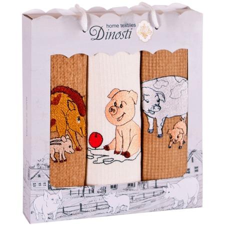 Купить Комплект из 3-х кухонных полотенец Dinosti «Год хрюши»