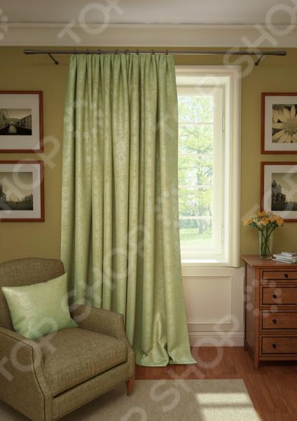 Штора Kauffort Plain Lux. Цвет: светло-оливковый шторы интерьерные kauffort штора provence k на тесьме 136х175