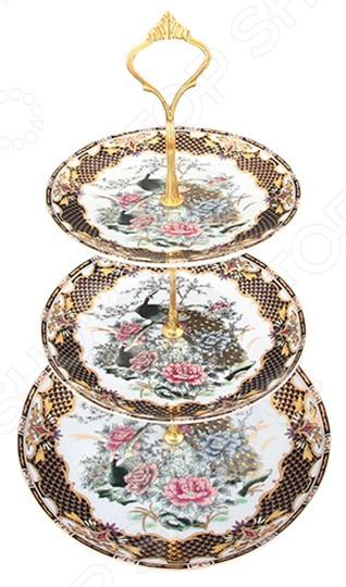 Фруктовница Elan Gallery трехъярусная «Павлин на золоте»