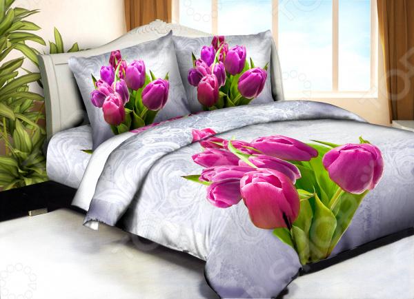 Комплект постельного белья Бояртекс «Тюльпаны на льду». 1,5-спальный