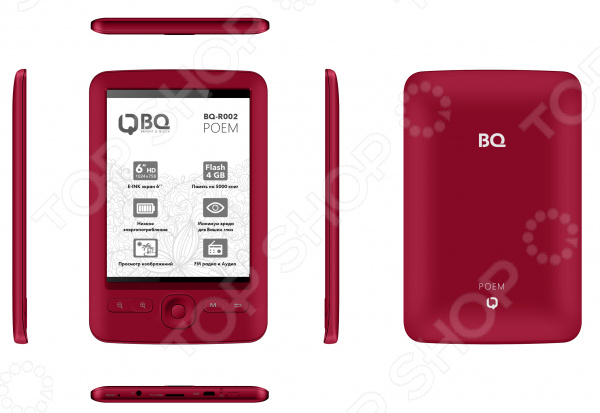 Книга электронная BQ Поэма удобное устройство для чтения всевозможных текстовых файлов. Много книг в бумажном формате в дорогу не возьмешь, а вот электронная книга поможет решить эту проблему. Ведь гаджет оснащен 4 Гб встроенной памяти, которая может быть расширена за счет приобретения microSD карт до 32 Гб. При этом читать ее не менее удобно, чем традиционную книгу. Большой 6 дюймовый экран работает на основе технологии E-Ink ее также называют электронные чернила или бумага . Дисплей состоит из микроскопических капсул, наполненных белыми и черными чернилами. Эти капсулы окрашиваются в один из цветов, когда на них происходит воздействие электрического импульса. В результате на экране отображаются нужные символы. Такой подход наделяет электронную книгу BQ Поэма следующими преимуществами:  Потребление энергии осуществляется только в момент смены страниц. В результате расход заряда аккумулятора минимальный. Статистические данные показывают, что на одном заряде можно прочитать от 7 до 42 книг в зависимости от их объема .  На экране создается имитация обычных чернил на бумаге, нет мерцания. В итоге ваши глаза не так устают, как если бы вы читали с жидкокристаллического дисплея.  Поколение Pearl HD дисплея E-Ink обеспечивает потрясающую контрастность изображения. Комфортному чтению страниц также способствует достойная плотность пикселей 197.8 ppi и 16 градаций серого. Особенность данной модели в том, что в нее встроен FM-приемник для прослушивания любимых радиостанций. Устройство работает на основе операционной системы uCOS с интуитивно понятным интерфейсом.