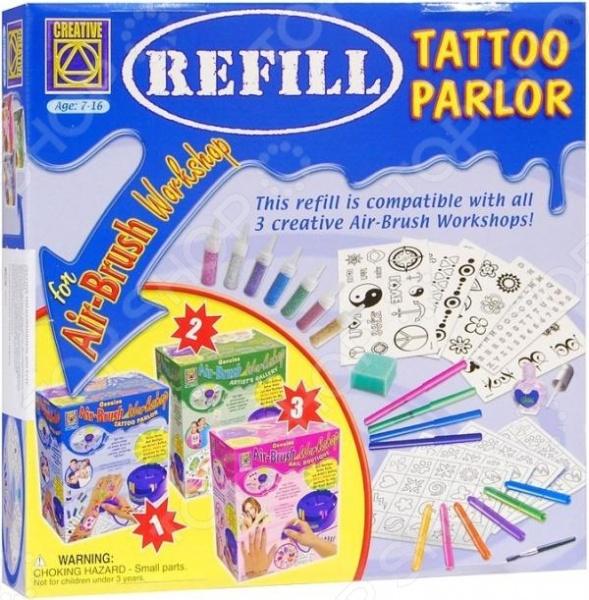 Набор для создания татуировок Creative 5550 великолепный подарок для любой юной красавицы, который поможет ей попробовать себя в новой роли - мастера художественной татуировки. Входящие в набор инструменты позволят создавать на своем теле совершенно безопасные переводные татуировки, которые будут радовать яркими цветами. Татуировки создаются при помощи разнообразных наклеек. Преимущество таких татуировок в том, что по необходимости они легко удаляются с помощью простой воды.