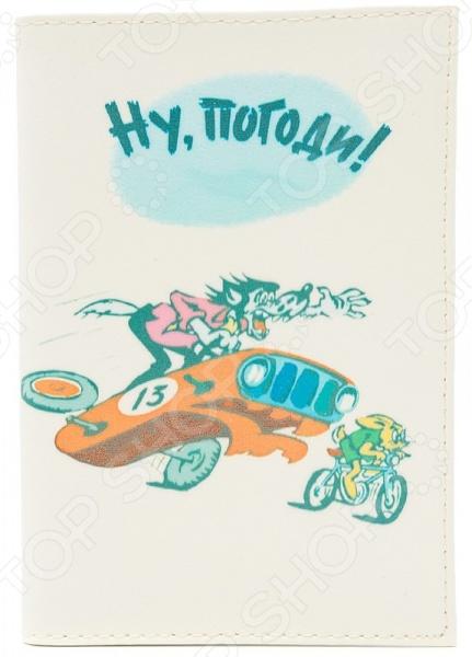 Обложка для паспорта кожаная Mitya Veselkov «Ну погоди!»