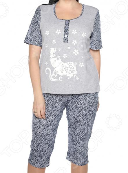 Пижама Алтекс «Пока все дома». Цвет: серый