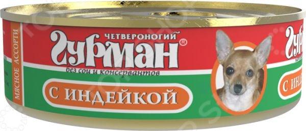 Корм консервированный для собак Четвероногий Гурман «Мясное ассорти с индейкой» туба космическое питание мясное пюре 165г
