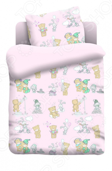 Ясельный комплект постельного белья Непоседа «Тедди». Цвет: розовый