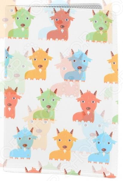 Обложка для паспорта кожаная Mitya Veselkov «Цветные козлята»