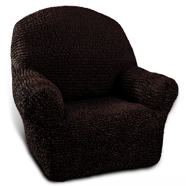 Натяжной чехол на кресло Еврочехол «Микрофибра. Черный шоколад» 1