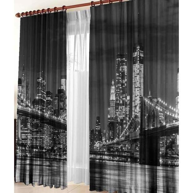 фото Фотошторы ТамиТекс «Бруклинский мост». Количество полотен: 2 шт