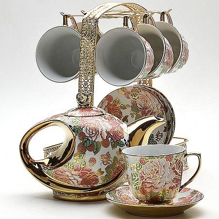 Купить Чайный сервиз «Золотое сияние». Рисунок: золотые сады