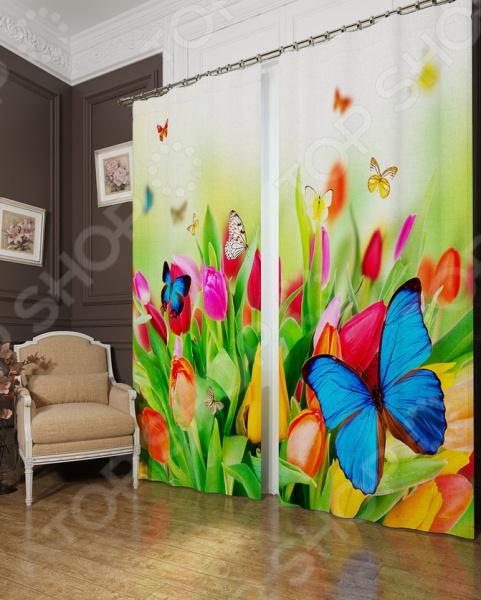 Фотошторы блэкаут Сирень «Бабочки»