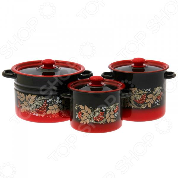 Набор посуды «Рябинка». Цвет: красный