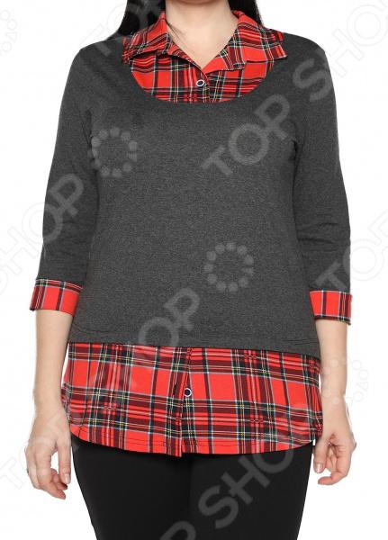 Блуза El Fa Mei «Интересное сочетание». Цвет: серо-красный el fa mei боди слипы