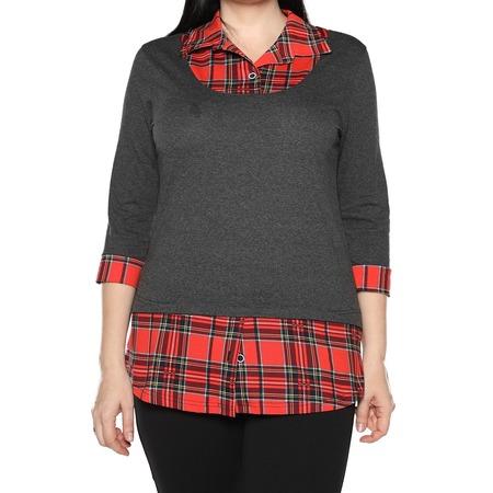 Купить Блуза El Fa Mei «Интересное сочетание». Цвет: серо-красный