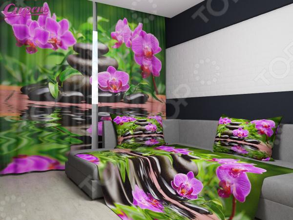 Комплект: фотошторы и покрывало Сирень «Арома Спа» фотошторы сирень фотошторы оттенки цветов