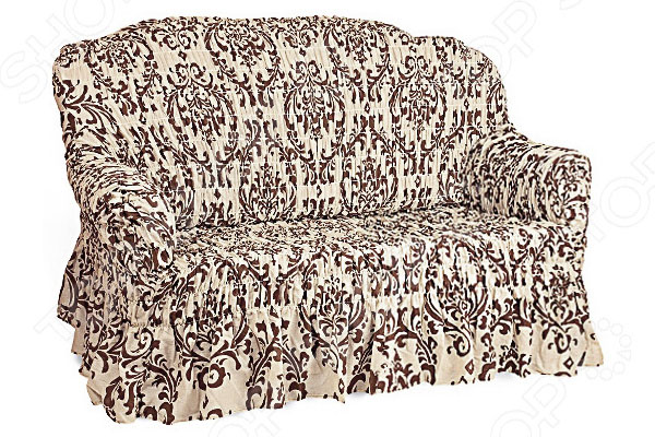 Натяжной чехол на двухместный диван Еврочехол «Фантазия. Венеция» 1