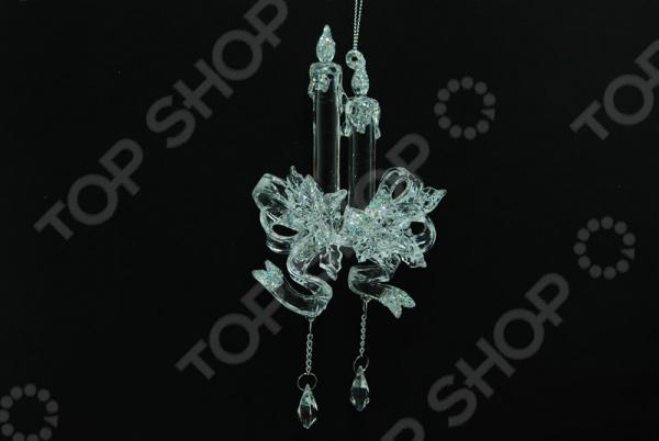 Новогоднее украшение Crystal Deco «Подсвечник с глиттером»