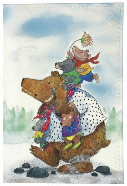 Обложка для паспорта кожаная Mitya Veselkov «Медведица с медвежатами» цена