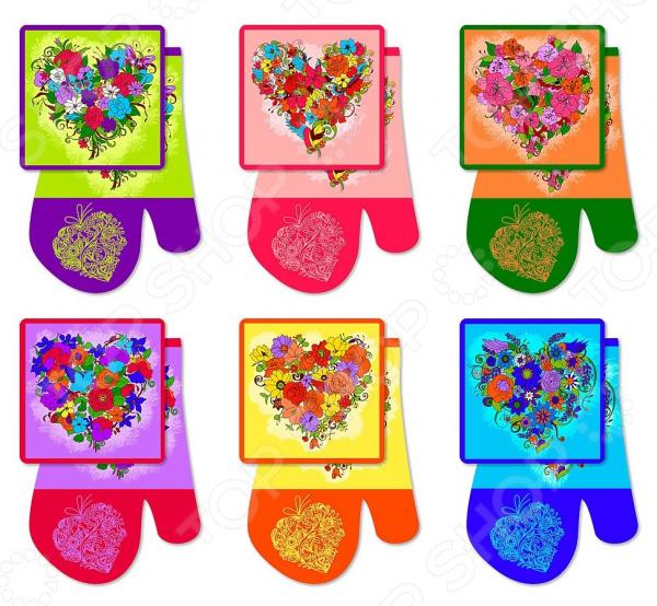 Набор кухонный: прихватка и рукавица Мультидом «Цветочное сердце» Z22-36. В ассортименте