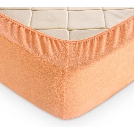 Купить Простыня на резинке ТексДизайн махровая. Цвет: персиковый