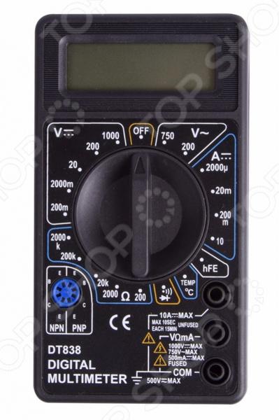 Мультиметр PROconnect M838 электроизмерительный прибор, который включает в себя несколько функций и набор измеряемых параметров. Прибор измеряет постоянное и переменное напряжение, постоянный ток и сопротивление в цепи. Также, с помощью этого мультиметра можно проводить тестирование диодов. Преимущества:  Прибор портативный, небольшого размера, что позволяет всегда носить его с собой.  Несмотря на малые размеры, мультиметр обладает широким функционалом.  Выбор измеряемых величин и пределов измерений производиться с помощью усиленного поворотного регулятора, благодаря которому исключается возможность случайного нажатия.  Прибор изготовлен из высококачественных материалов, калибровка и тестирование приборов произведено под контролем компании Rexant International. Характеристики:  Постоянное напряжение: 200mВ 0.5 3 , 2000мВ 20В 200В 0,8 5 , 1000В 1,0 5 .  Переменное напряжение: 200В 750В 2,0 10 .  Постоянный ток: 200мкА 2000мкА 20мА 1.8 2 , 200мА 2,0 2 , 10A 2.0 10 .  Сопротивление: 200Ом 1,0 10 , 200Ом 20КОм 200КОм 2000КОм 1,0 4 .  Температура: от -40 до 150 1.0 4 , от150 до 1370 1,5 15 .  Тестирование диодов.  Прозвонка целостности цепи. Тип батареи Rexant 9В Крона в комплекте .