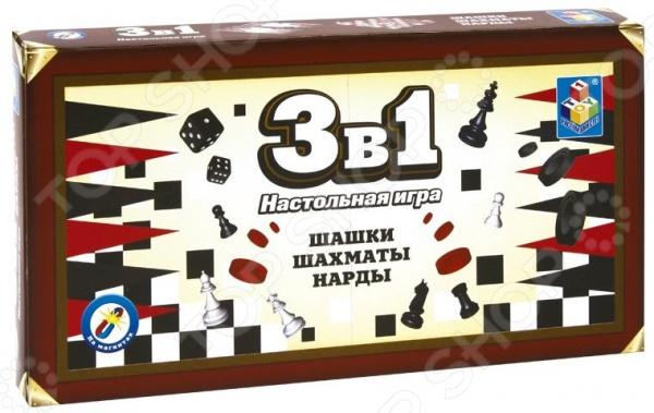 Игра настольная 3 в 1: шашки, шахматы, нарды 1 Toy магнитные настольная игра логическая 3 в 1 шахматы шашки нарды магнитные 3704c