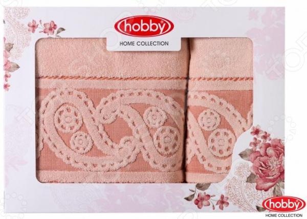 все цены на  Комплект из 2-х махровых полотенец подарочный Hobby Home Collection Hurrem. Размер: 50х90 см, 70х140 см  в интернете